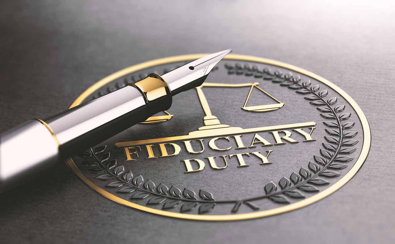 Image of a pen sitting on top of a legal seal that reads fiduciary duty.